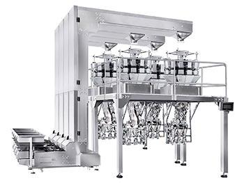 Cup Filling and Capping Line with Automatic Weighing System, 14 Head Weigher